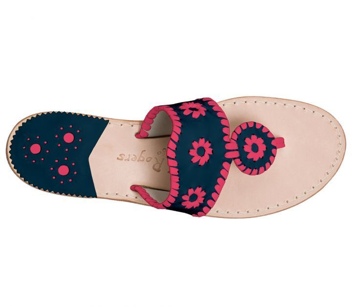 118 NEW Jack Rogers Jacks Flat Sandale Exclusive Midnight Pink Navy Schuhes 6