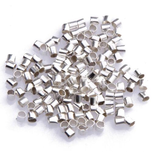 hot1000pcs Wholesale Silver//Gold//Black//Bronze Plated Tube Crimp End Beads 2mm US