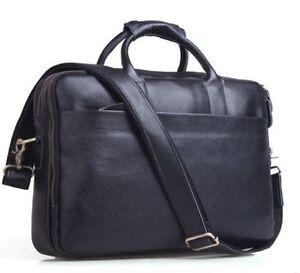 Mens-Tote-Genuine-Leather-13-034-Laptop-Briefcase-Shoulder-Messenger-Bag-Work-Black