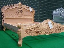 Super King Size rustic 6' shabby RAW mahogany designer French style Rococo bed