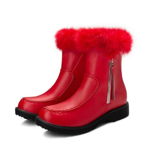 Womens Trendy Winter Round Toe Fur Trim Zipper Thick Heels Winter Ankle Boots