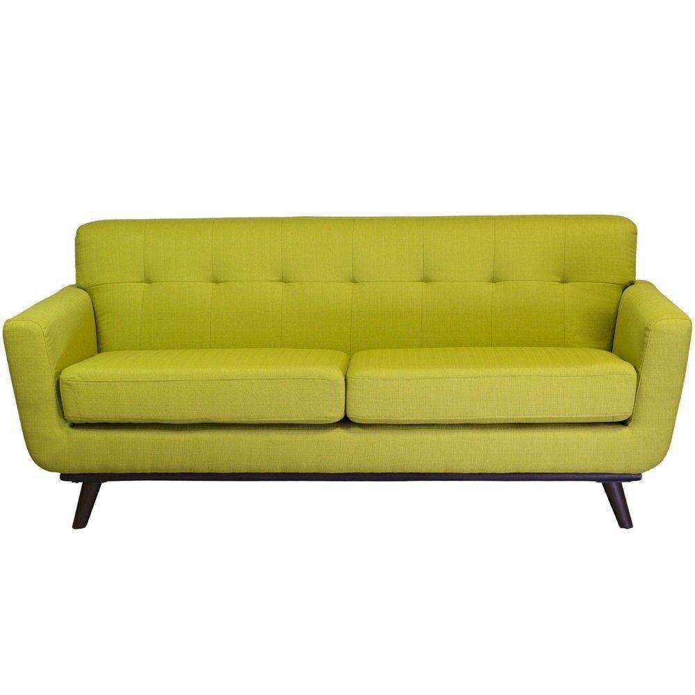 Mid Century Modern Sofa Green Cotton Linen Upholstery