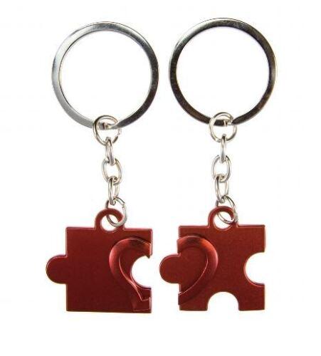 in silber oder rot wählbar glänzend Schlüsselanhänger Puzzle mit Herz