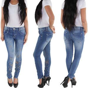 MOZAARR-Skinny-Roehrenjeans-Slim-Fit-Damen-Hose-Hueft-Stretch-Jeans-Applikation