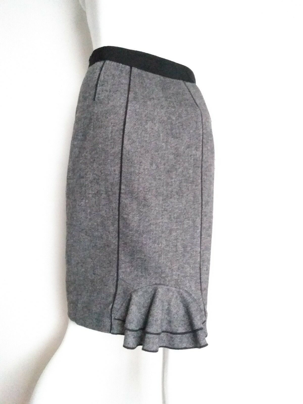 COAST wool tweed midi skirt size 8 knee length fishtail grey lined