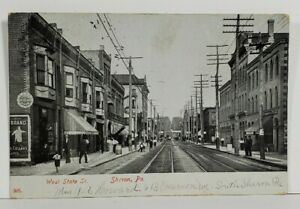 Sharon-Pa-West-State-Street-1908-to-Ithaca-NY-Postcard-N10