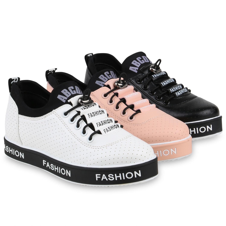 Damen Plateau Sneaker Print Turn Zapatos   Leder-Optik Freizeit 821914  Zapatos Zapatos ad07ce