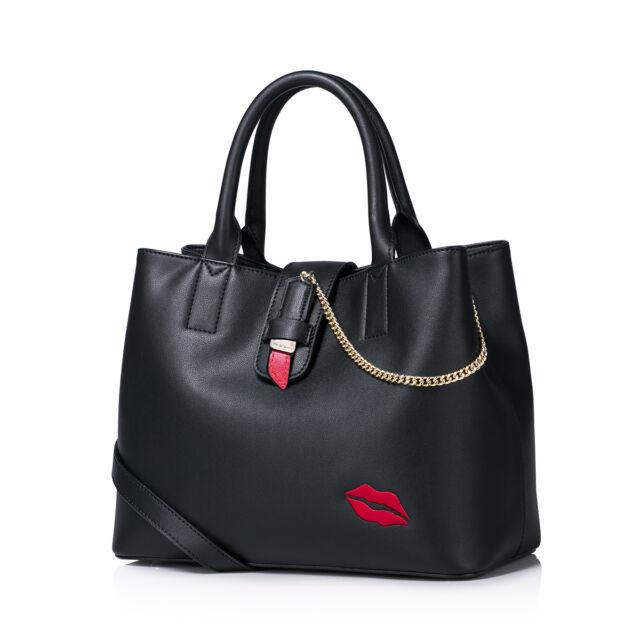 Women Leather Shoulder Hand Bag Tote Shopper Lipstick Lip Print Chain