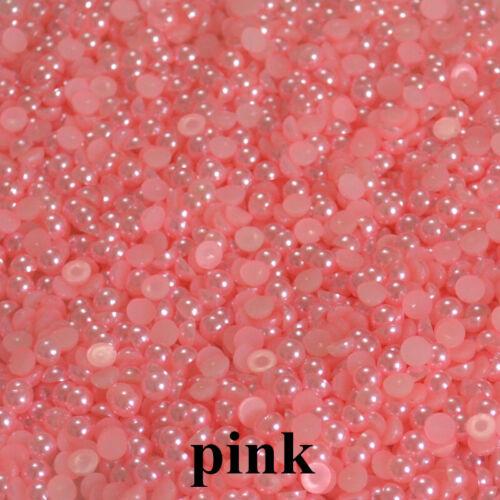 Polished Half Pearls  Bead Flat Back scrapbook craft 2,3,4,5,6,8,10,12,14mm #1
