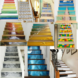 3D-Removable-Stair-Sticker-Stairway-Stickers-Waterproof-Steps-Sticker-6PCS-UK-Y7
