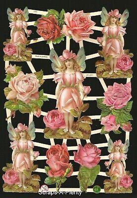 German Victorian Style Embossed Scrap Die Cut Children Hearts /& Flowers EF7368
