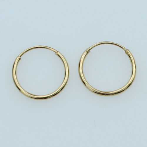 14K Yellow Gold 1.5mm Thickness High Polished Endless Hoop Earrings