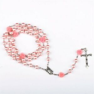 PINK-FAUX-PEARL-ROSARY-28-034-Necklace-6-034-Drop-6mm-Prayer-Beads-Catholic-Crucifix