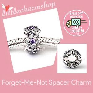 New-Authentic-Genuine-PANDORA-Forget-Me-Not-Spacer-Charm-791834ACZ-RETIRED