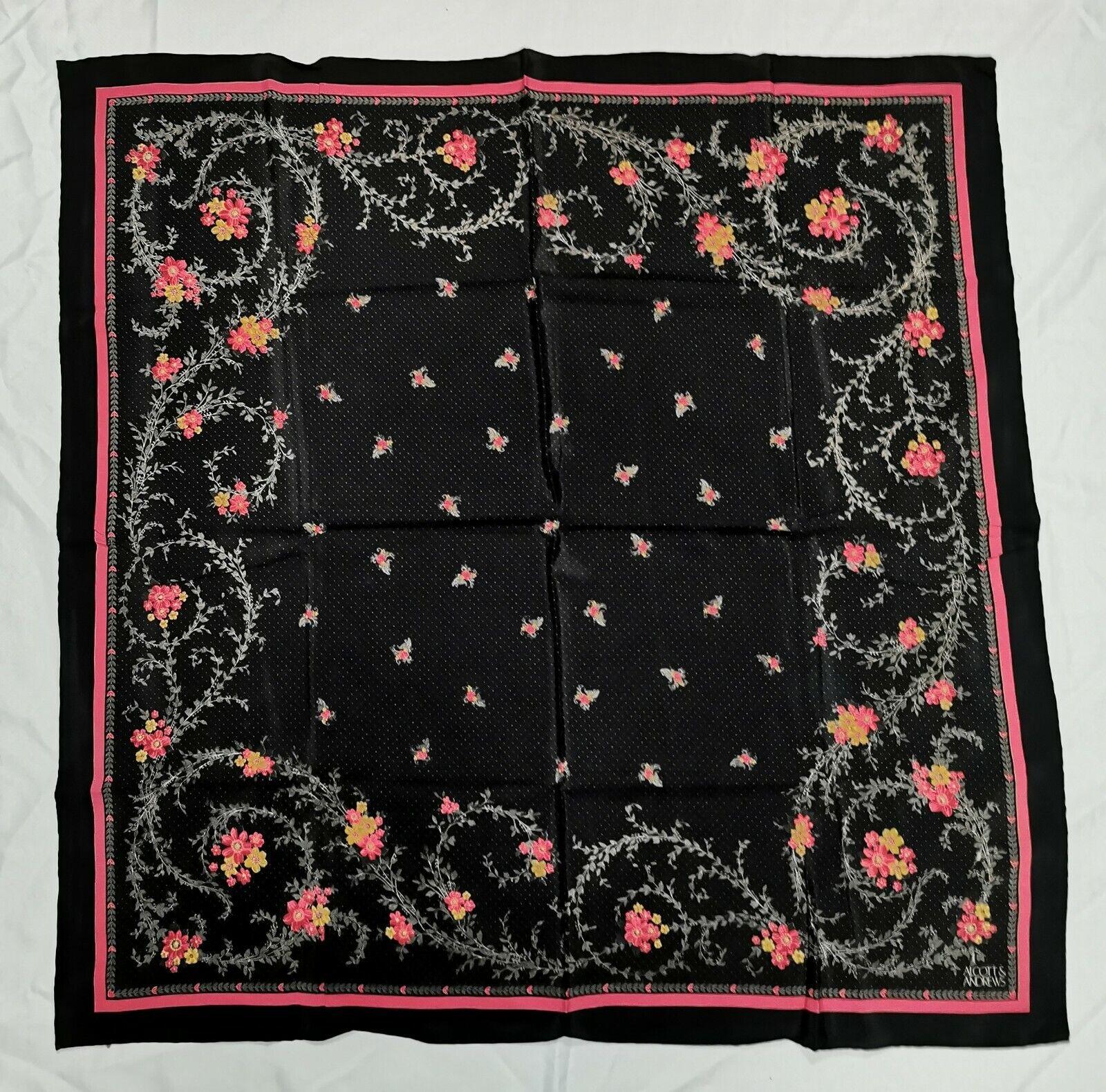 Vintage Alcott & Andrews Black Floral Print Pink Yellow Silk Square Scarf 34