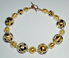 24K Gold and Black Murano Glass Leopard Bracelet