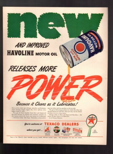 "1946 Havoline Motor Oil "" Releases More Power "" Texaco Vintage Print Ad"
