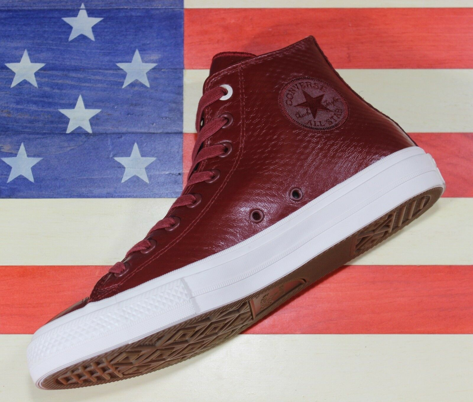 CONVERSE SAMPLE Chuck Taylor ALL-STAR II 2 HI Red Maroon Pelle [153553C] sz 9