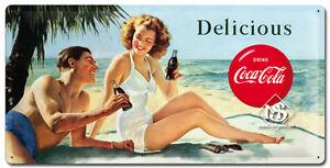 Nostalgie-Blechschild-Coca-Cola-Beach-Couple-Blechschilder