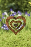 Flamed Copper Hanging Heart Large Wind Spinner For Home, Yard Art
