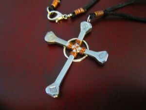 Nail cross necklace horseshoe nail copper wire wrap silver clasp image is loading nail cross necklace horseshoe nail amp copper wire aloadofball Images
