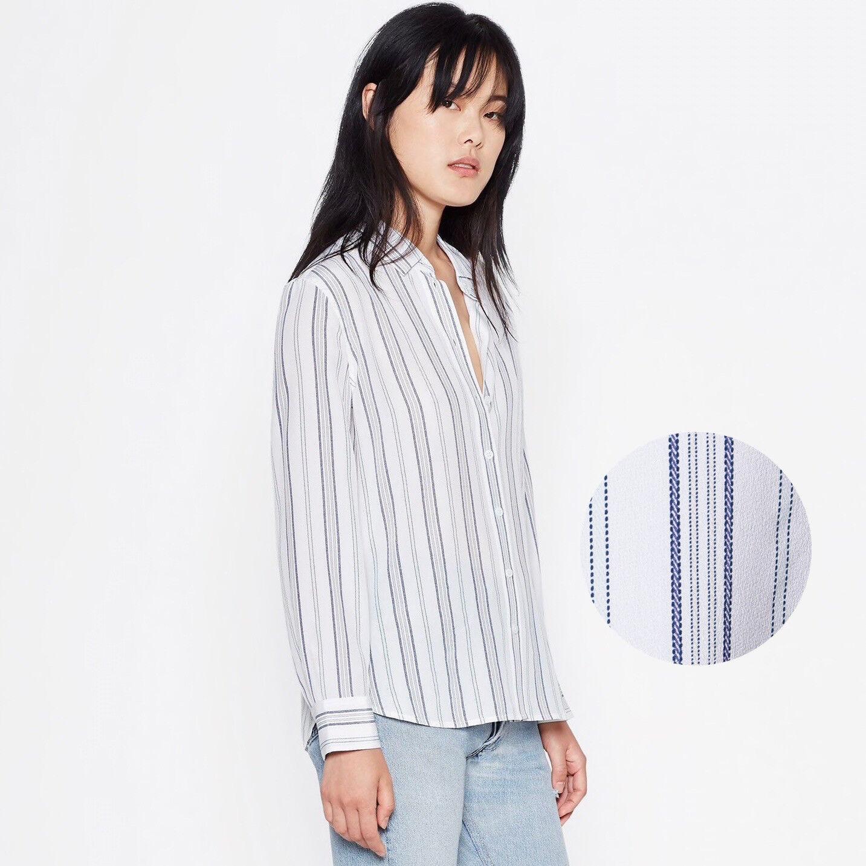 EQUIPMENT Leema Silk Shirt in Seaside Blau Stripe Größe Large L