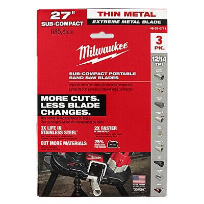 Milwaukee Extreme Thick Metal 8//10 TPI Band Saw Blades 3PK Deep Cut 48-39-0601