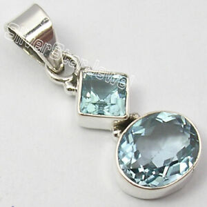 925-Stamp-Sterling-Silver-6-x-6-9-x-11-mm-Blue-Topaz-Pendant-1-2-034-Stone-Jewelry