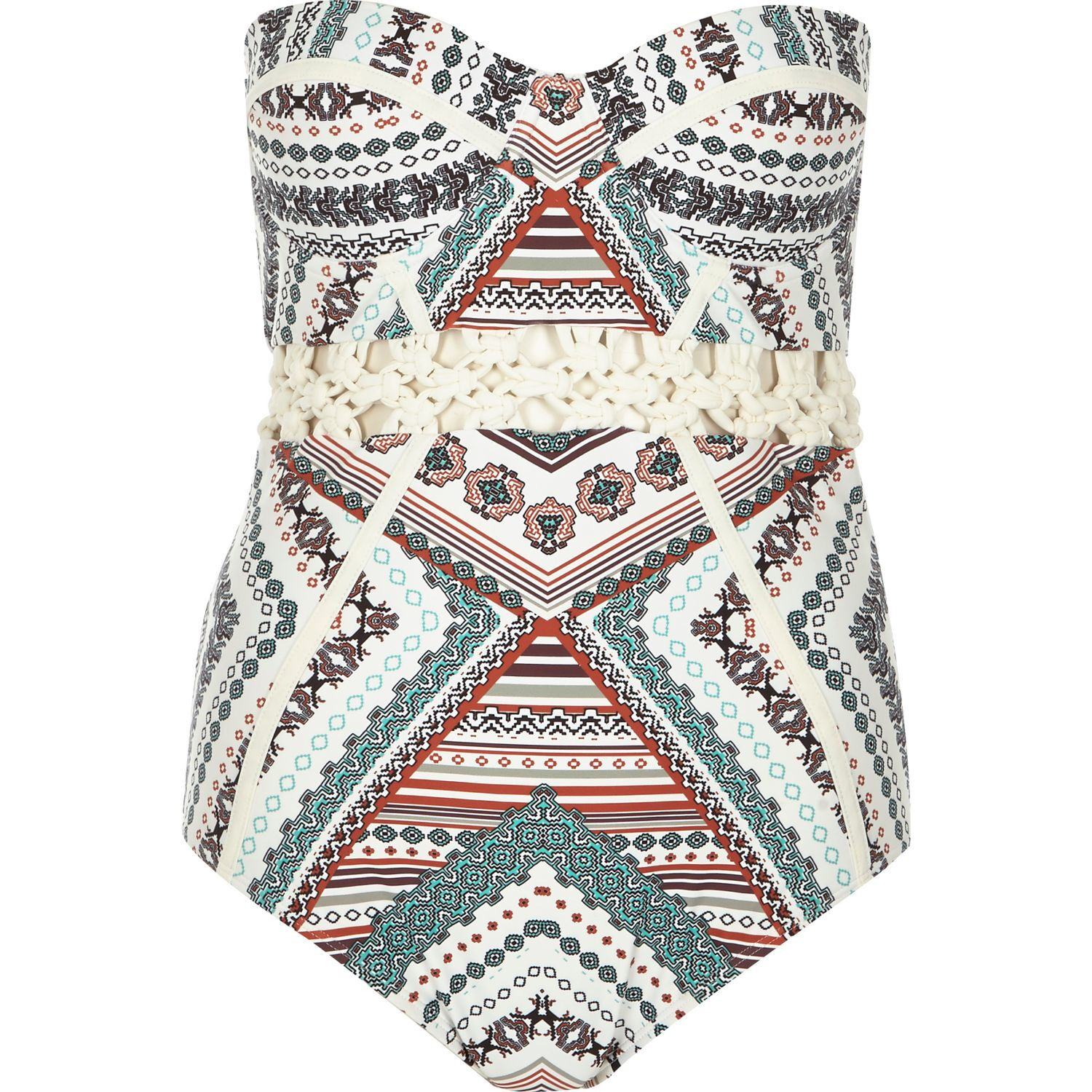 River Island Creme Tile Print Print Print Macrame Bustier Swimsuit NEW US 4 SOLD OUT 87d2ff