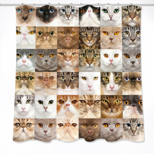 "60//72/"" Various Cats  Waterproof Fabric Bathroom Decor Shower Curtain /&Mat /&Hook"