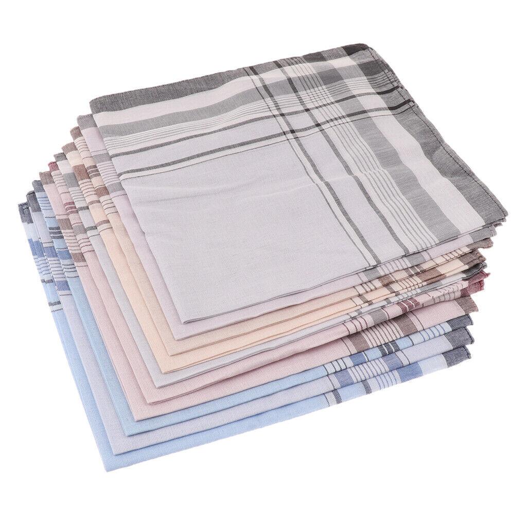 10 Pcs Men Mixed Soft Cotton Handkerchiefs Plaid Hankies Pocket Square
