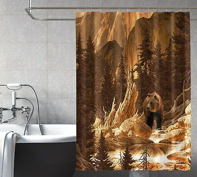 Honest 3d Grizzly Wald 7 Duschvorhang Wasserdicht Faser Bad Daheim Windows Toilette De Home & Garden Curtains, Drapes & Valances
