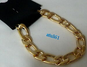 MANS-THICK-BRACELET-GOLD-PLATED-CURB-LINK-8-5inch-COSTUME-FASHION-JEWELLERY-NEW