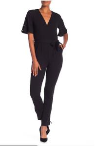 d0582f320de Spense Womens Surplice Faux Pearl Sleeve Black V neck Jumpsuit 10