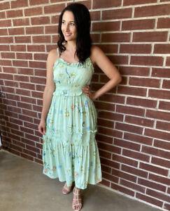 NWT-Angie-Smocked-Ruffle-Green-Print-Floral-Summer-Sun-Midi-Fall-Dress-S-M-L
