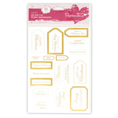 PACK A5 DIE CUT GOLD FOILED SENTIMENT EMBELLISHMENT FOR CARDS OR CRAFTS