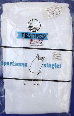 "Men's singlet Vintage vest SMALL 34""-36"" chest c 1960s White PENDEEN Sports-man"