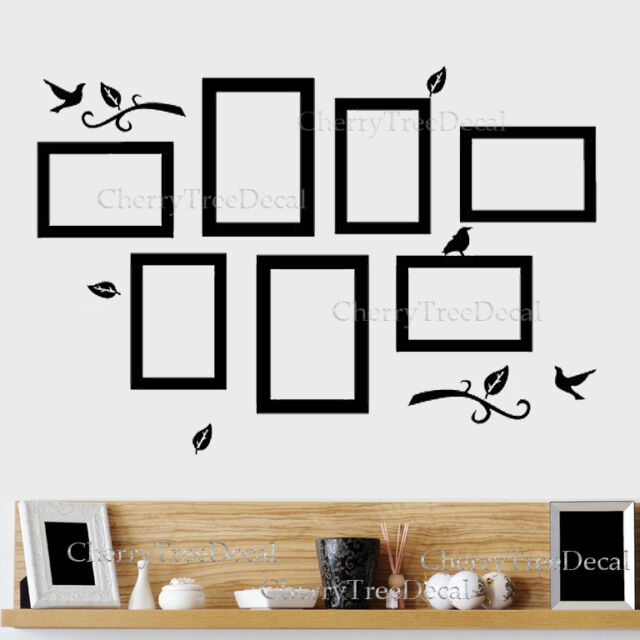 7x Photo Frames Birds Tree Wall Stickers Family Art Decal Home Decor ...
