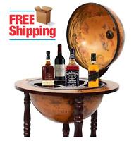 Portable Wood Bar Server Pub Wine Rack Furniture Decor Globe Liquor Storage