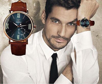 Noctilucentes Relojes De Lujo Moda Cuero Hombre Vidrio Cuarzo Analógico Pulsera