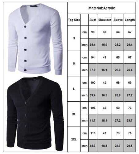 Mens V-Neck Knitted Button Cardigan Slim Fit Sweater Casual Knitwear Autumn Tops