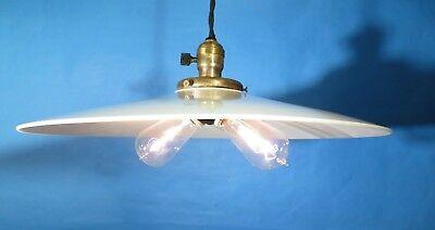 Machine Age Milk Glass Vintage Industrial Hanging Light w// Flat Lamp Shade