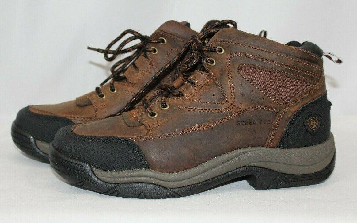 Terreno Ariat Para Hombre Cuadrado De Trabajo Con Puntera De Acero Bota Zapato 10016379 Marrón 8 d NUEVO