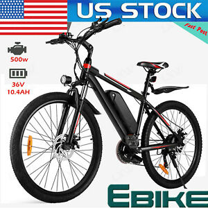 "500W 26"" Electric Bike Mountain Bicycle Commuter Ebike Shimano Li-Battery Bikes"