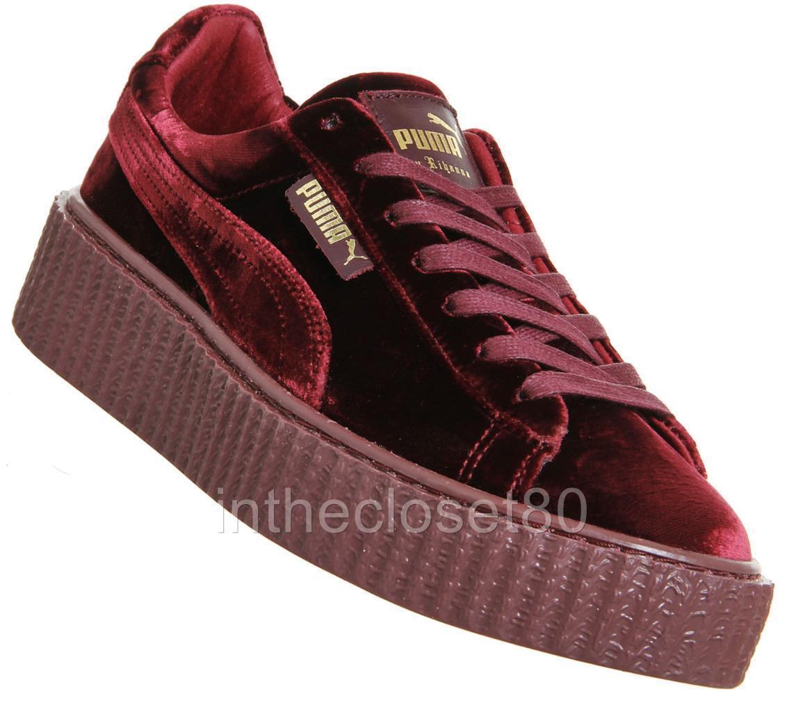 Puma Rihanna Rihanna Rihanna Fenty Creepers Velvet Burgundy Maroon Red Womens Trainers 364466 02 1c1026