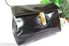 Vintage CELINE Paris Black Glossy Patent Leather Shoulder Bag Italy