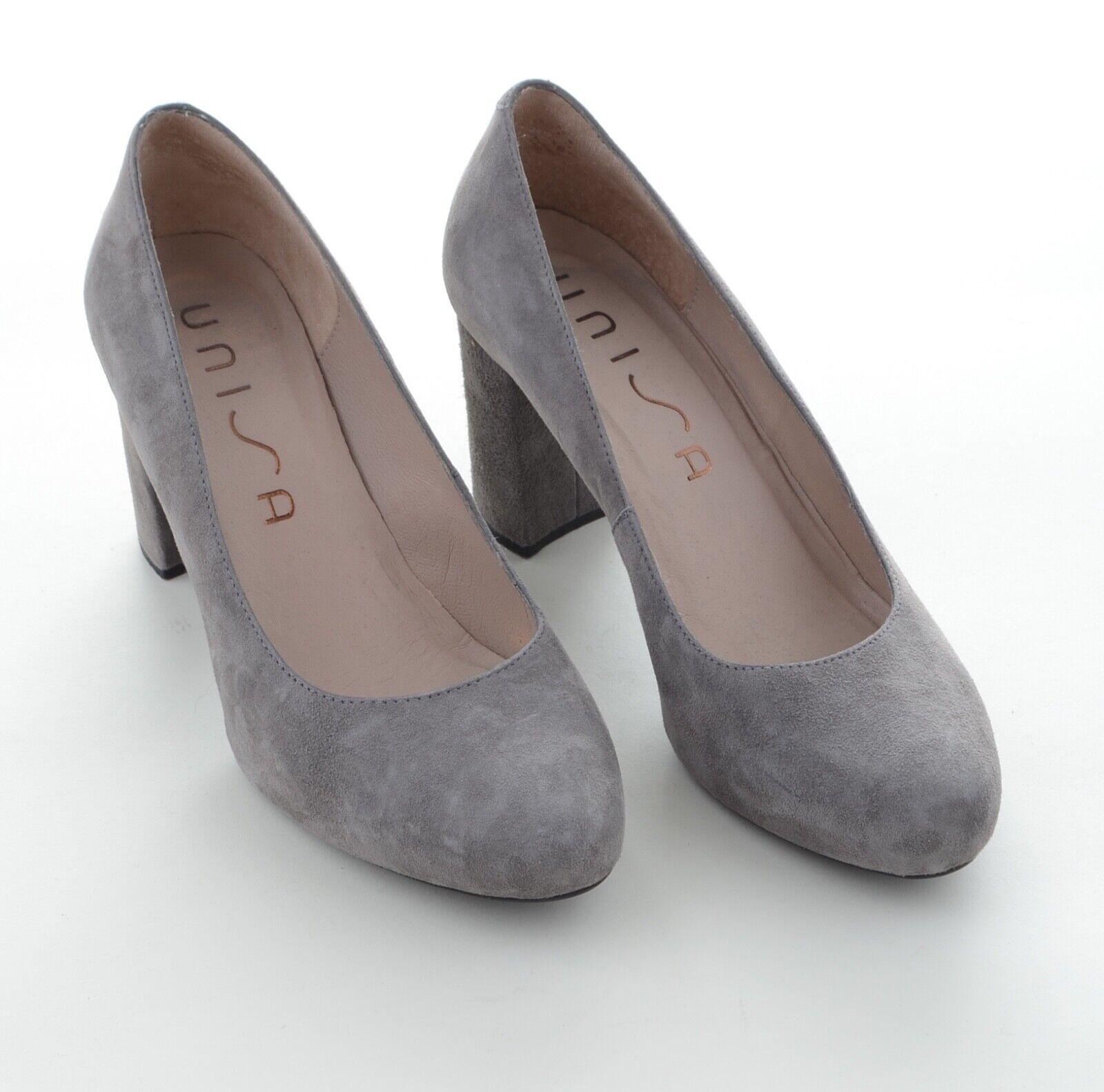 UNISA Designer Damen Schuhe Pumps High Heels Wild Leder Gr 38 Grau