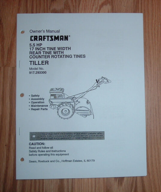 Craftsman 917 293300 Tiller Owners Manual With Ilrated Parts List