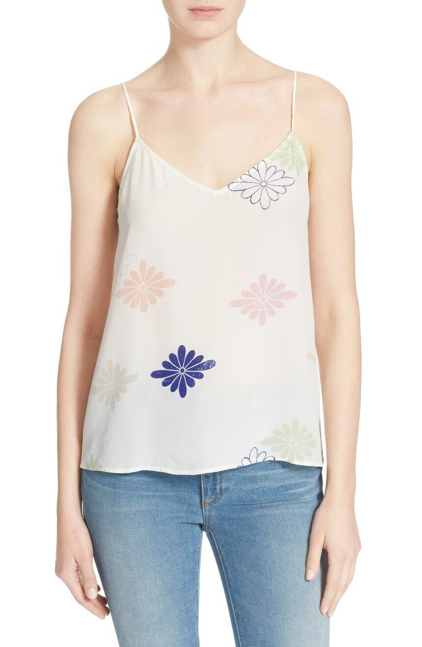 NWT Equipment 'Layla' Floral Print Silk Tank Bright White Mix [SZ Small ]  R566