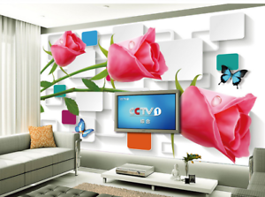 3D Red Flower Butterfly 888 Wallpaper Mural Paper Wall Print Wallpaper Murals UK